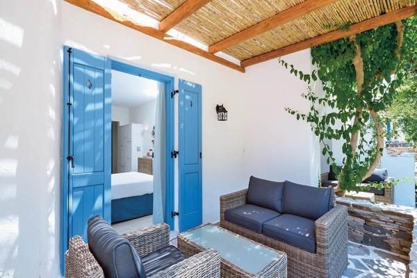 Terrasse - Hôtel Alkyoni Beach 3* sup Santorin Grece